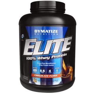 Dymatize Nutrition, Elite, 100% Whey Protein, Chocolate Fudge, 5 lbs (2.27 kg)