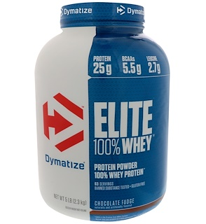 Dymatize Nutrition, Elite 100% Whey Protein Powder, Chocolate Fudge, 5 lbs (2.3 kg)