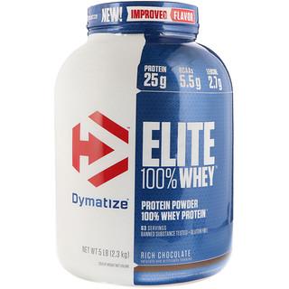 Dymatize Nutrition, Elite 100% Whey Protein, Rich Chocolate, 5 lbs (2.3 kg)