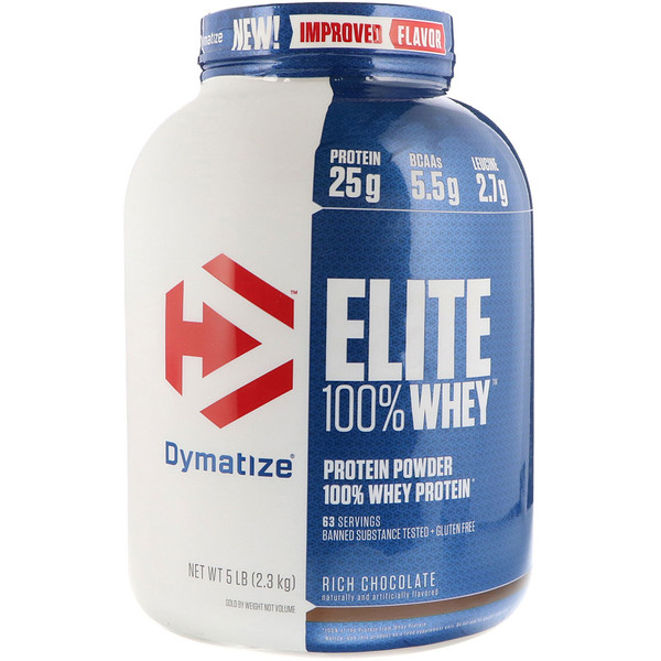 Dymatize Nutrition, Elite 100% Whey Protein, Rich Chocolate, 5 lbs (2、3 kg)