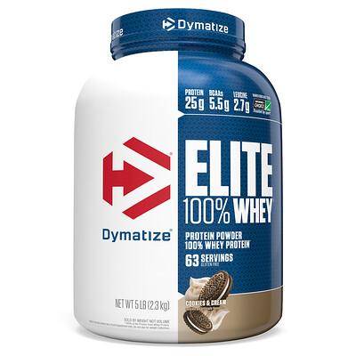 Dymatize Nutrition Elite 100 % Whey, протеиновый порошок, со вкусом печенья со сливками, 2, 3 кг (5 фунтов)  - купить со скидкой