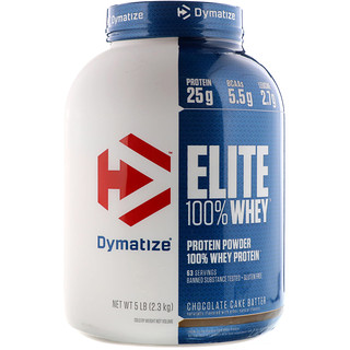 Dymatize Nutrition, Elite, 100% Whey Protein Powder, Chocolate Cake Batter, 5 lbs (2.3 kg)