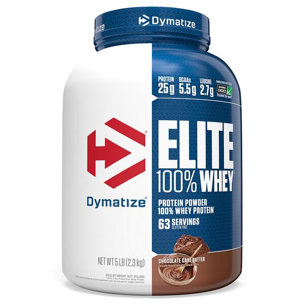 Dymatize Nutrition, Elite, 100 % proteína de suero 100% en polvo, masa de pastel de chocolate, 5 lb (2,3 kg) (Discontinued Item)