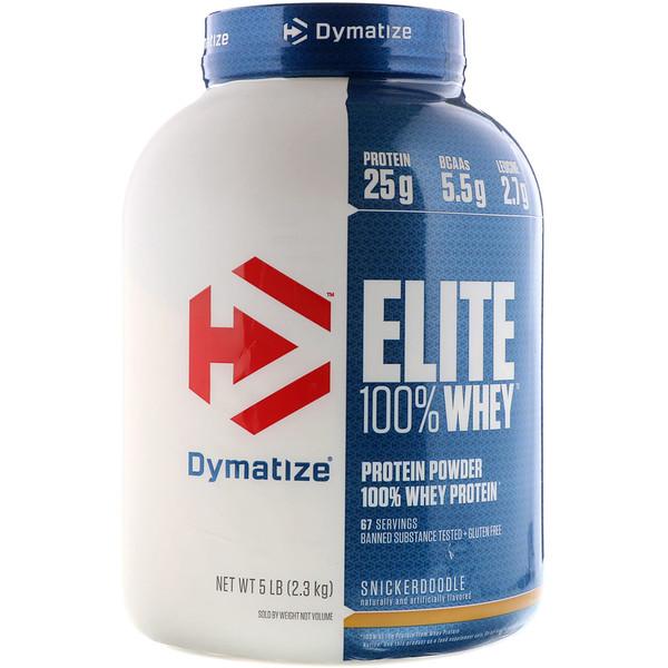 Dymatize Nutrition, Elite, 100-ный Порошок Сывороточного Протеина, Печенье Сникердудл, 5 фунтов (2,3 унции)