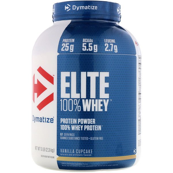 Dymatize Nutrition, Elite, 100% Whey Protein Powder, Vanilla Cupcake, 5 lbs (2.3 kg) (Discontinued Item)