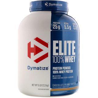 Dymatize Nutrition, Elite 100% Whey Protein, Chocolate Peanut Butter, 5 lb (2.3 kg)