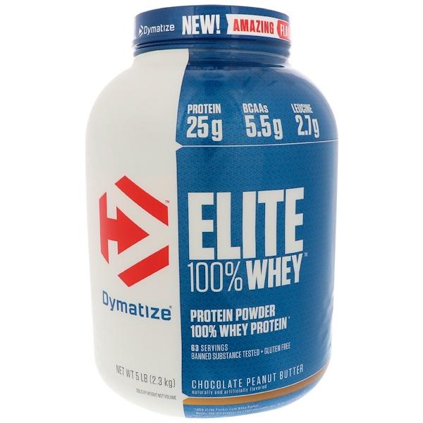 Dymatize Nutrition, Elite 100% 乳清蛋白,巧克力花生醬味,5 磅(2、3 千克)