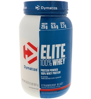Dymatize Nutrition, Elite 100% Whey Protein Powder, Strawberry Blast, 32 oz (907 g)