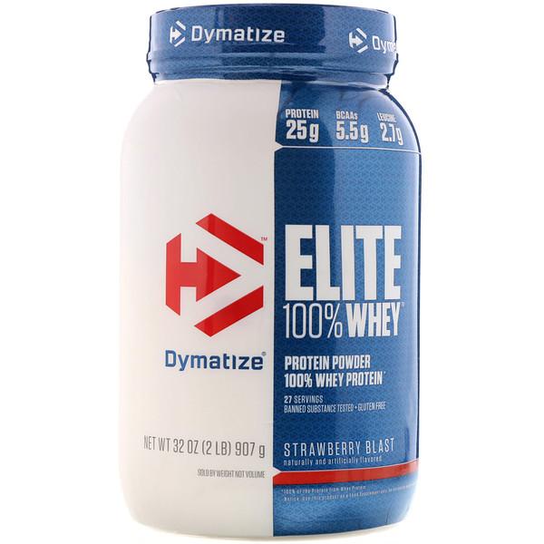 Dymatize Nutrition, Elite 100% Whey Protein Powder, Strawberry Blast, 2 lbs (907 g) (Discontinued Item)
