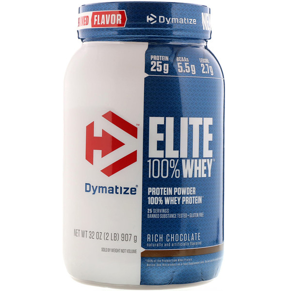 Dymatize Nutrition, Elite, 100% Whey Protein, Rich Chocolate, 2 lbs (907 g)