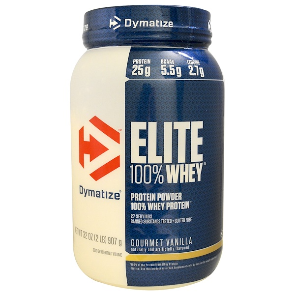 Dymatize Nutrition, Elite 100% Whey Protein, Gourmet Vanilla, 32 oz (907 g) (Discontinued Item)