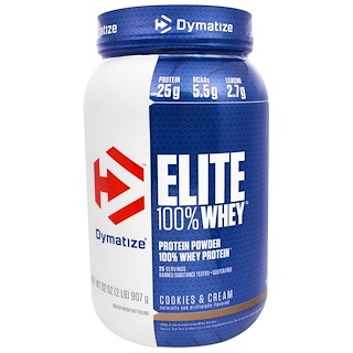 Dymatize Nutrition, Elite 100% Whey Protein Powder, Cookies & Cream, 32 oz (907 g)