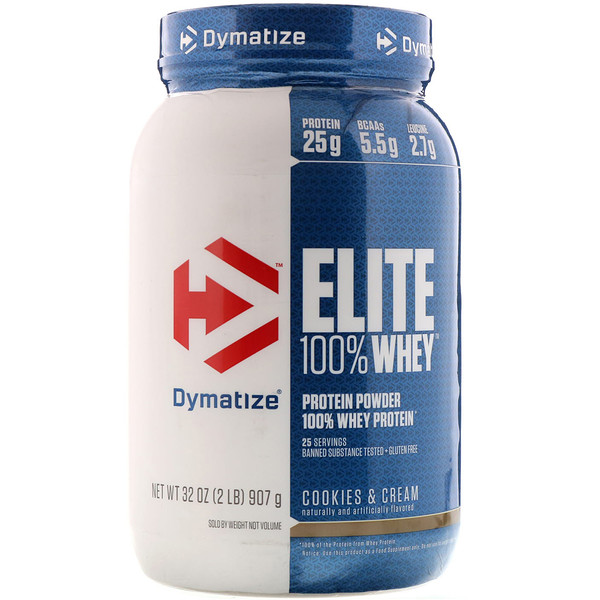 Dymatize Nutrition, Elite 100% Whey Protein Powder, Cookies & Cream, 2 lbs (907 g) (Discontinued Item)