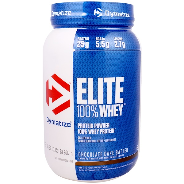 Dymatize Nutrition, Elite 100% Whey Protein Powder, Chocolate Cake Batter, 2 lbs (907 g) (Discontinued Item)