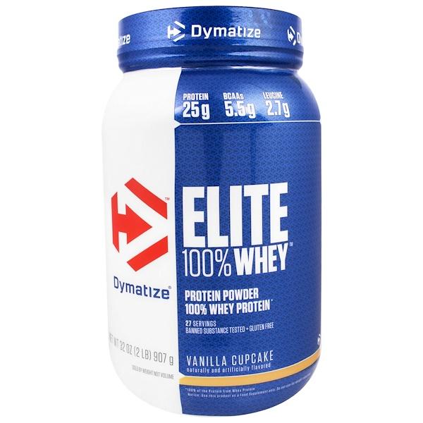 Dymatize Nutrition, Elite100%乳清蛋白,香草蛋糕味,32盎司(907克)