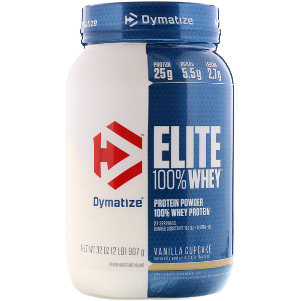 Dymatize Nutrition, Elite 100% Whey Protein Powder, Vanilla Cupcake, 2 lbs (907 g) (Discontinued Item)