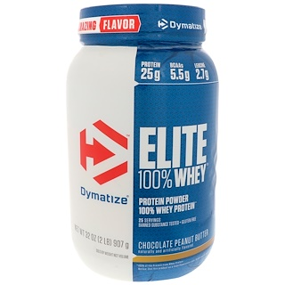 Dymatize Nutrition, Протеин Elite 100% Whey, шоколад и арахисовое масло, 32 унц. (907 г)