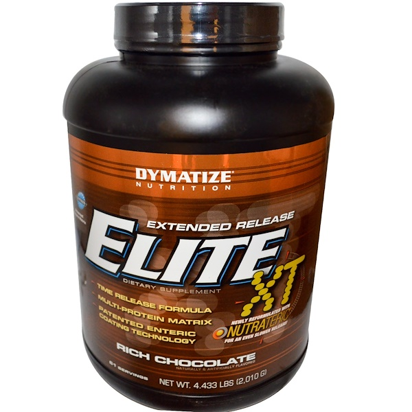 Dymatize Nutrition, Elite XT, Extended Release, Rich Chocolate, 4.433 lbs (2,010 g) (Discontinued Item)