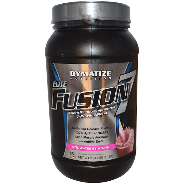 Dymatize Nutrition, Elite Fusion 7, Strawberry Shake, 2.91 lbs (1,320 g) (Discontinued Item)