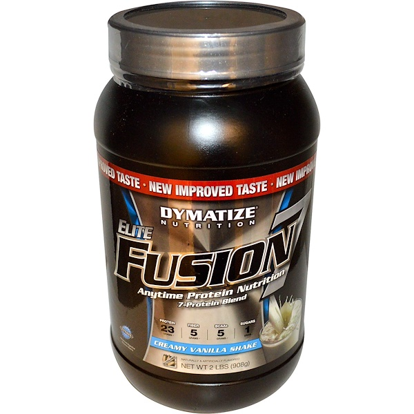 Dymatize Nutrition, Elite Fusion 7 Protein Blend, Creamy Vanilla Shake, 2 lbs (908 g) (Discontinued Item)