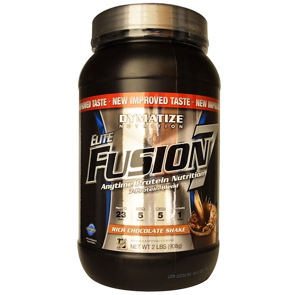 Dymatize Nutrition, Elite Fusion 7, Anytime Protein Nutrition, Rich Chocolate Shake, 2 lbs (908 g) (Discontinued Item)