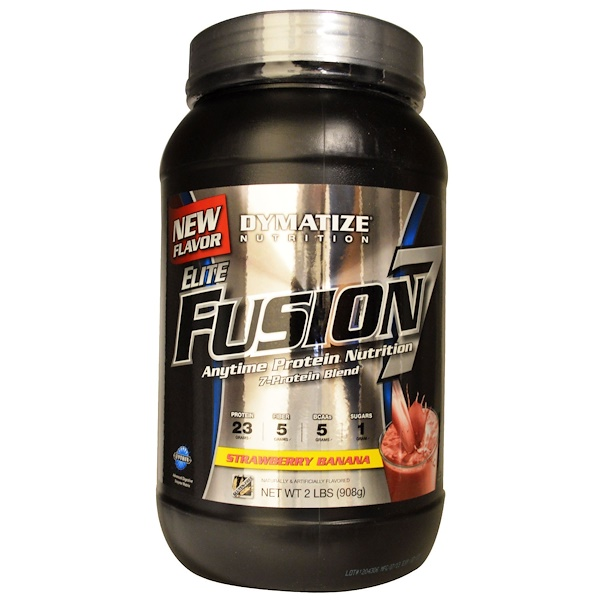 Dymatize Nutrition, Elite Fusion 7, Anytime Protein Nutrition, Strawberry Banana, 2 lbs (908 g) (Discontinued Item)