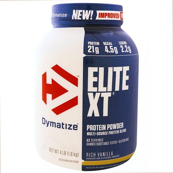 Dymatize Nutrition, Elite XT,蛋白粉,富含香草,4磅(1、8公斤)