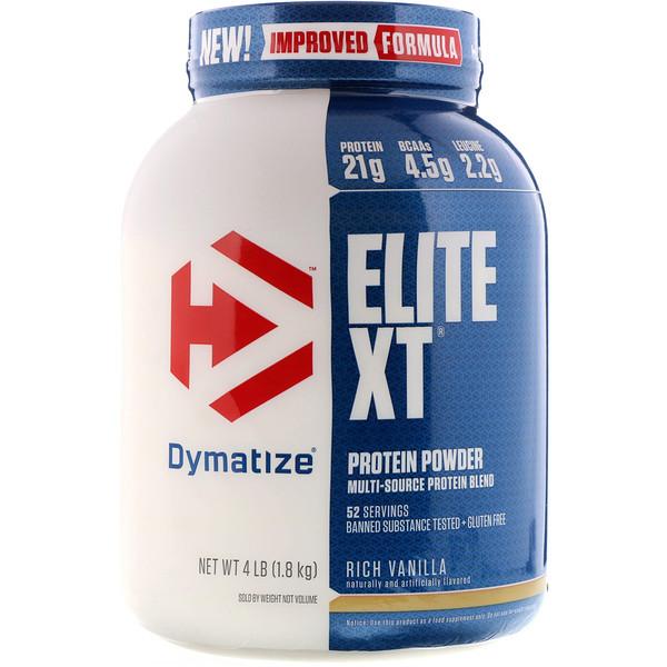 Dymatize Nutrition, Elite XT, белковый порошок со вкусом богатой ванили, 1,8 кг (4 фунта) (Discontinued Item)