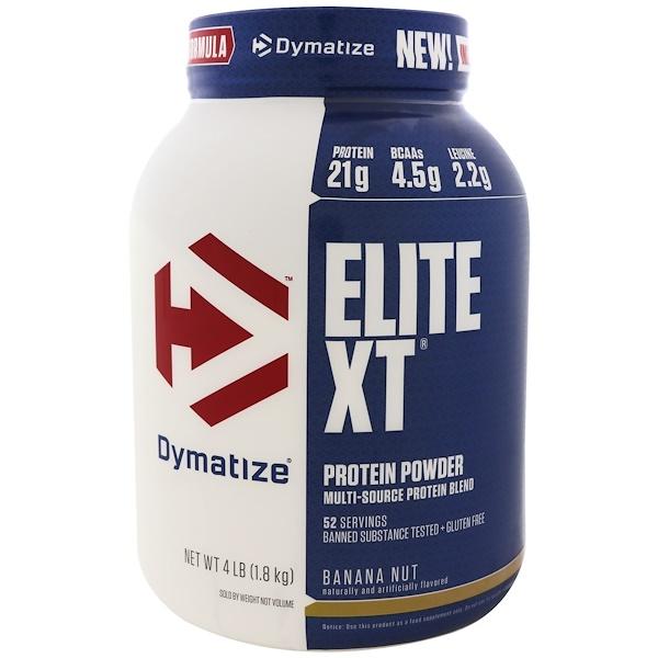 Dymatize Nutrition, Elite XT,蛋白粉,香蕉堅果,4磅(1、8公斤)