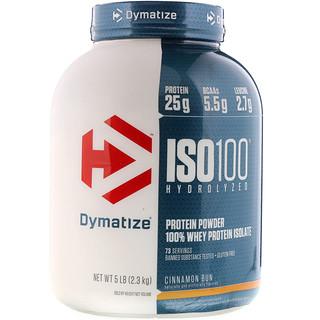 Dymatize Nutrition, ISO100 Hydrolyzed, 100% Whey Protein Isolate, Cinnamon Bun, 5 lbs (2.3 kg)
