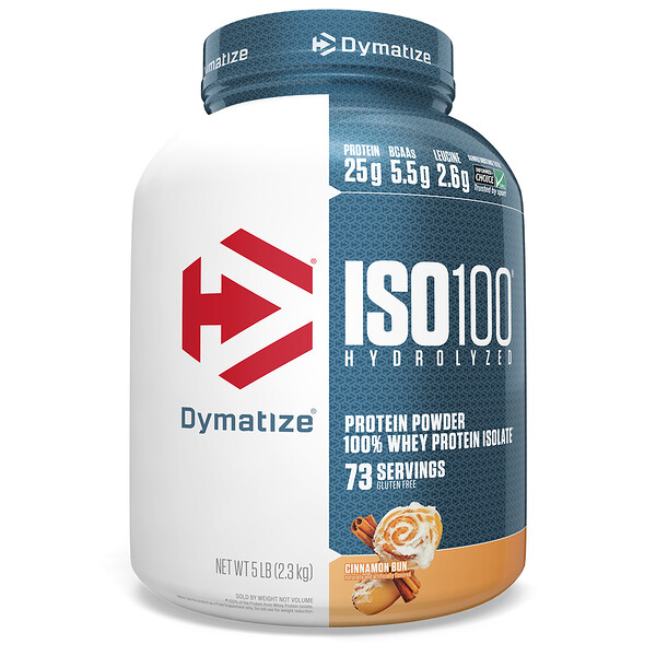 Dymatize Nutrition, ISO100 المحلل بالماء، بروتين مصل الحليب المعزول بنسبة 100%، مسحوق البروتين، لفافة القرفة، 5 رطل (2.3 جم)