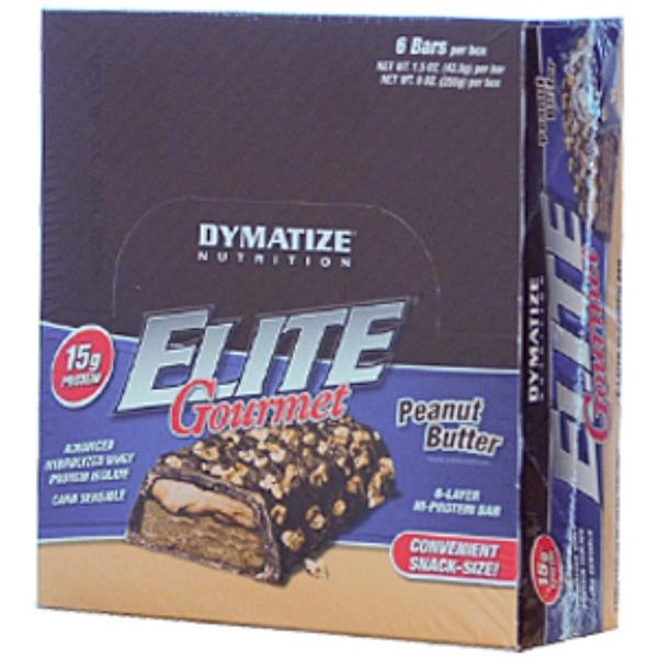 Dymatize Nutrition, Elite Gourmet Bar, Peanut Butter, 6 Bars per box, 1.5 oz (42.5 g) per bar (Discontinued Item)