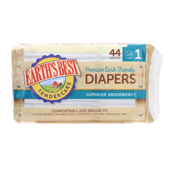 Earth's Best, TenderCare, Premium Earth Friendly, Diapers, Size 1, 8-14 lbs, 44 Diapers (Discontinued Item)