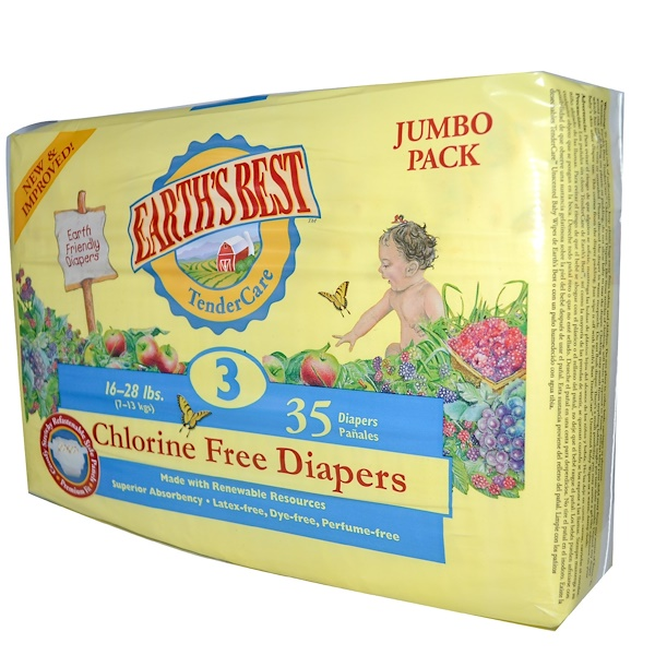 Earth's Best, TenderCare, Chlorine Free Diapers, Size 3, 16-28 lbs, 35 Diapers