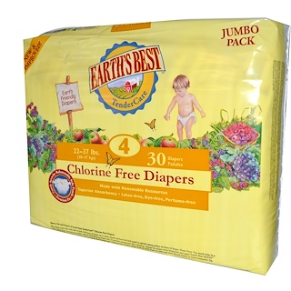 Earth's Best, TenderCare, Chlorine Free Diapers, Size 4, 22-37 lbs, 30 Diapers