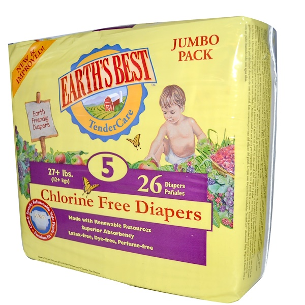 Earth's Best, TenderCare, Chlorine Free Diapers, Size 5, 27+ lbs, 26 Diapers (Discontinued Item)