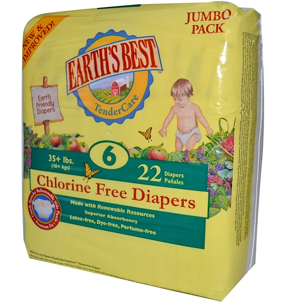 Earth's Best, Chlorine Free Diapers, Size 6, 35 + lbs, 22 Diapers  (Discontinued Item)