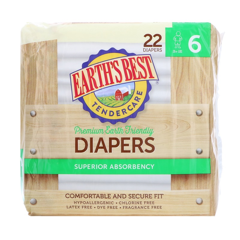 TenderCare, Premium Earth Friendly, Diapers, Size 6, 35 + lbs, 22 Diapers
