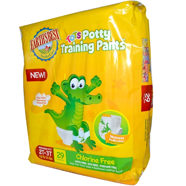 Earth's Best, Tots Potty Training Pants, Chlorine Free, Size 2T-3T Up to 34 lbs, 29 Training Pants (Discontinued Item)