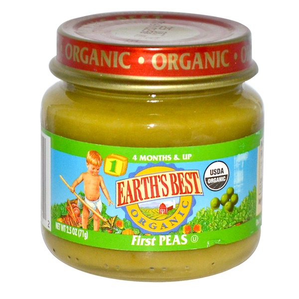 Earth's Best, Baby Foods, Organic First Peas, 2.5 oz (71 g) (Discontinued Item)