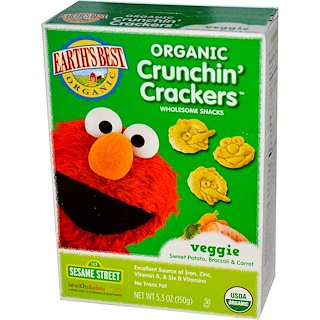 Earth's Best, Organic Crunchin' Crackers, Sesame Street,  Veggie Sweet Potato, Broccoli & Carrot, 5.3 oz (150 g)