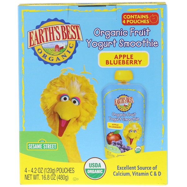 Earth's Best, Sesame Street, Organic Fruit Yogurt Smoothie, Apple Blueberry, 4 Pouches, 4.2 oz (120 g) Each (Discontinued Item)