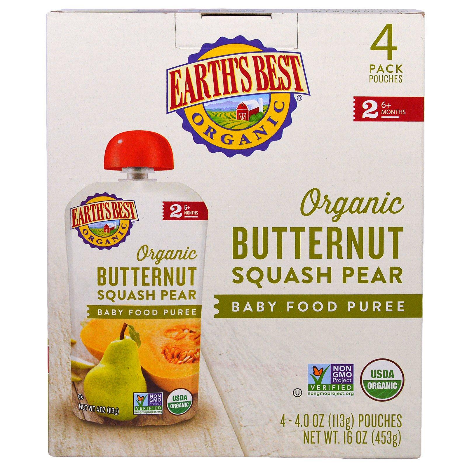 Earth's Best, Organic Butternut Squash Pear, Baby Food ...