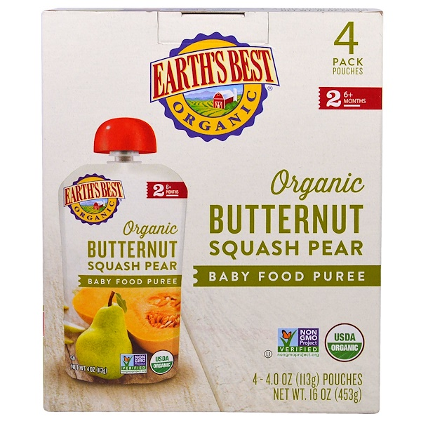 Earth's Best, Organic Butternut Squash Pear, Baby Food Puree, 6+ Months, 4 Pouches, 4.0 oz (113 g) Each