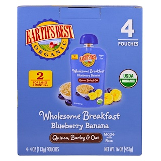 Earth's Best, Wholesome Breakfast, Organic Blueberry Banana Flax and Oat Pouches, 6 + Months, 4 Pack, 4.0 oz (113 g) Each