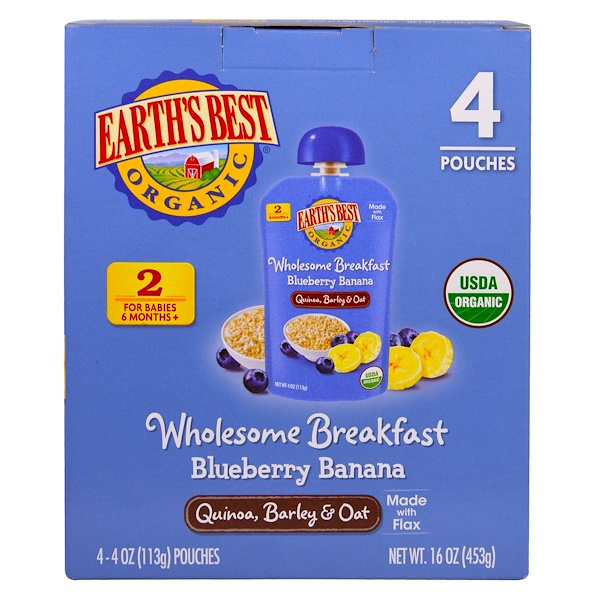 Earth's Best, Wholesome Breakfast, Organic Blueberry Banana Flax and Oat Pouches, 6 + Months, 4 Pack, 4.0 oz (113 g) Each (Discontinued Item)