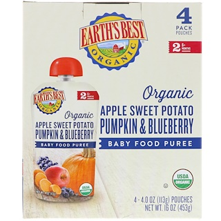 Earth's Best, Organic Apple Sweet Potato, Pumpkin & Blueberry, Baby Food Puree, 6+ Months, 4 Pouches, 4.0 oz (113 g) Each