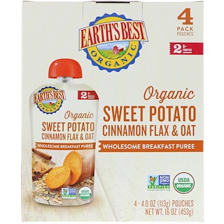 Earth's Best, Organic Sweet Potato, Cinnamon Flax & Oat, Wholesome Breakfast Puree, 6+ Months, 4 Pouches, 4.0 oz (113 g) Each