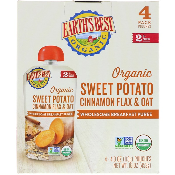 Earth's Best, Organic Sweet Potato, Cinnamon Flax & Oat, Wholesome Breakfast Puree, 6+ Months, 4 Pouches, 4.0 oz (113 g) Each (Discontinued Item)