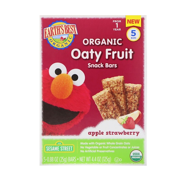 Earth's Best, Sesame Street, Organic Oaty Fruit Snack Bars, Apple Strawberry, 5 Bars, 0.88 oz (25 g) Each